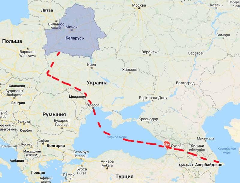 아제르바이잔에서 벨로루시로의 석유 공급 계획 : 벨로루시 유조선이 오데사에서 예상됩니다