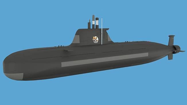 """Concept design del sottomarino non nucleare P-750B """"Serval"""""""