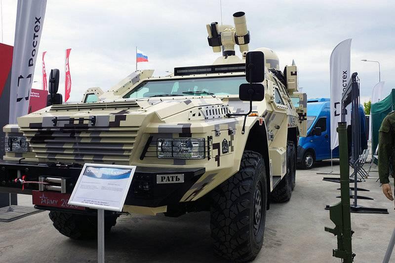 """在"""" Army-2020""""上展示了打击无人机的移动综合体"""" Rat"""""""
