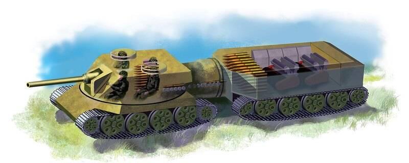 以前に提示された架空のXNUMXリンク戦車の外観