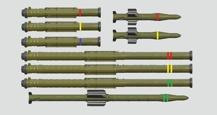 Trentasei munizioni per carri armati missilistici unificati