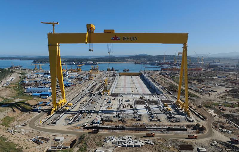 Construction of a dry dock is nearing completion at SSK Zvezda