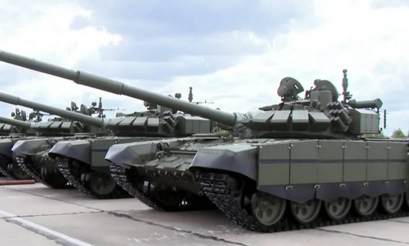 현대화 된 T-72B3M 탱크가 중앙 군사 지구에 진입했습니다.