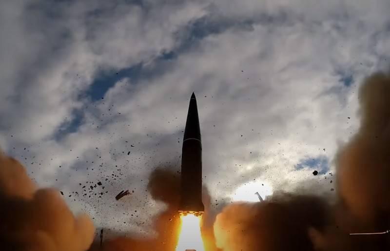 O Ministério da Defesa mostrou um vídeo do lançamento em combate do míssil Iskander-M OTRK