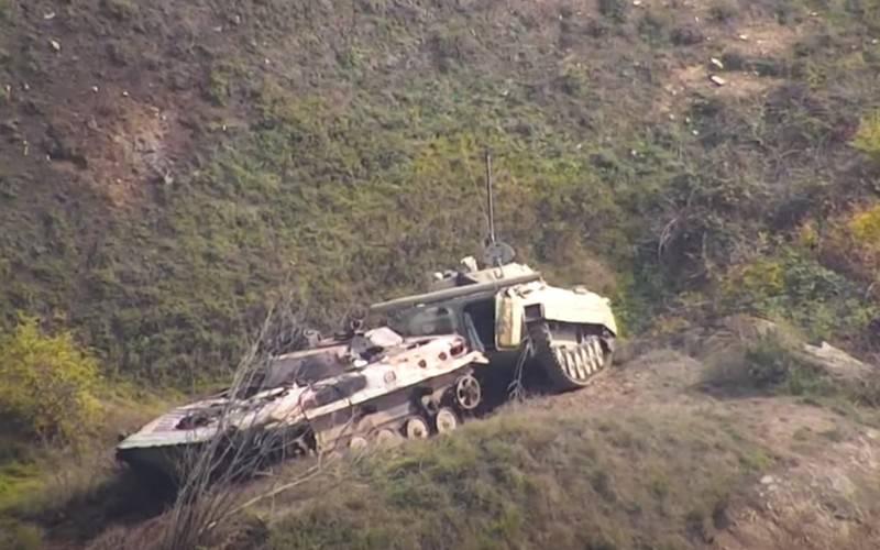 Минобороны Нагорного Карабаха показало видео разгромленной колонны азербайджанской армии