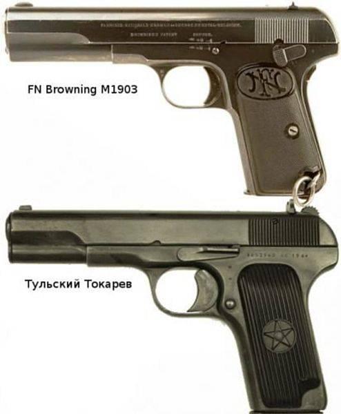 Что общего у пистолета ТТ и пистолетов Браунинга
