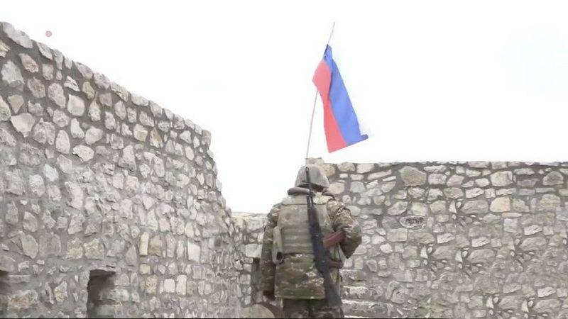 Russian flag and local militias: footage from the Amaras monastery of Nagorno-Karabakh is shown