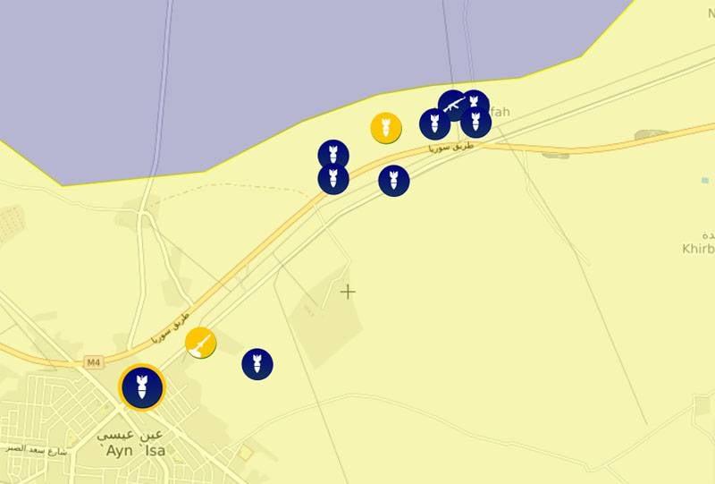 Курды заявили о применении турецкими войсками и протурецкими силами тяжёлой артиллерии в районе Айн-Иссы в Сирии