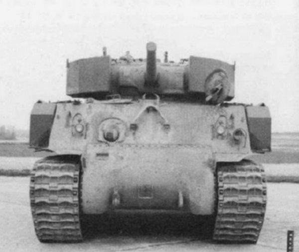 Gravel against a projectile.  Experimental attachment armor for the M4 tank (USA)