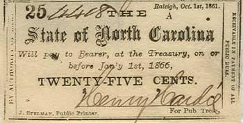 25 cents from North. Carolina