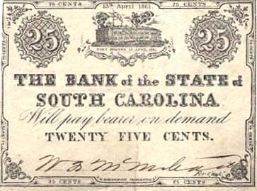 25 cents from South. Carolina
