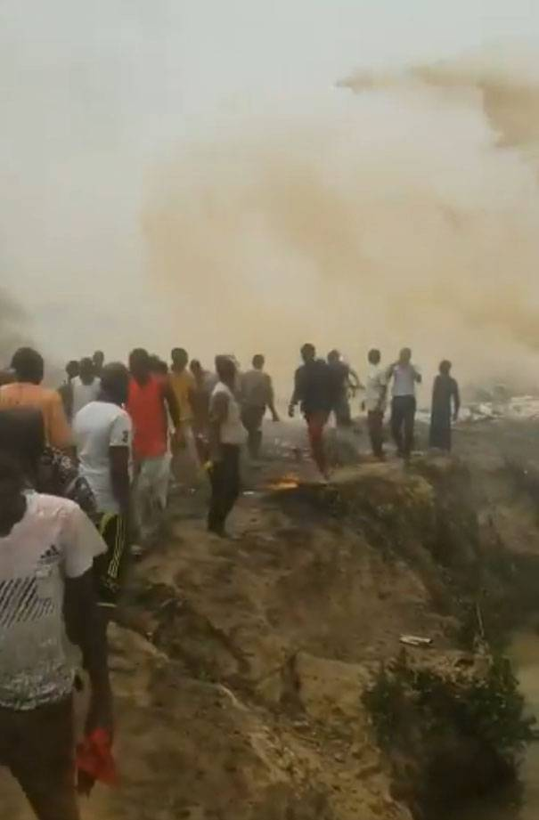 Footage from the crash site of the Nigerian Air Force is published