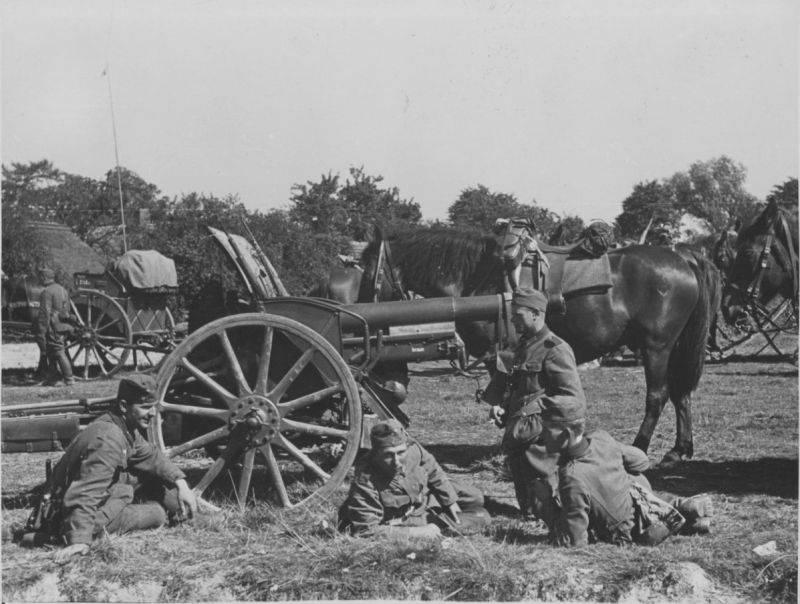 Obuses alemanes capturados de 105 mm en servicio en el Ejército Rojo.