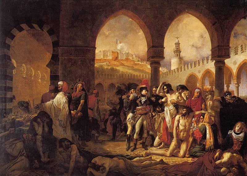 Napolyon, Jaffa'daki veba hastalarını ziyaret eder. Antoine-Jean Gros tarafından resim.