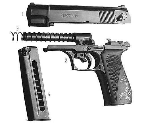 Пистолет со свободным затвором для высокоимпульсных патронов