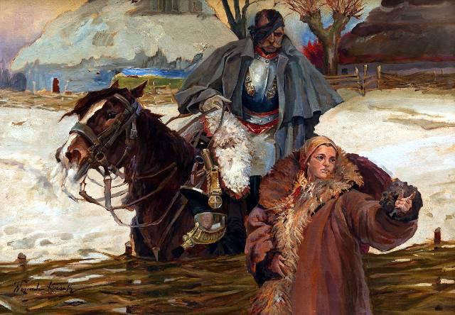 負傷した胸甲騎兵と少女