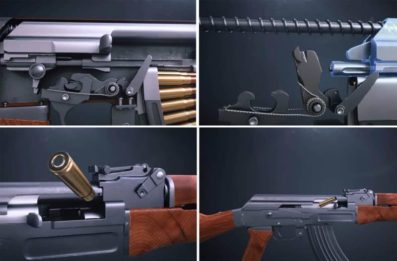 Работа АК-47 при стрельбе