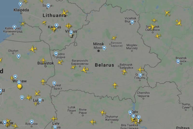 Данные о трафике в воздушном пространстве Белоруссии