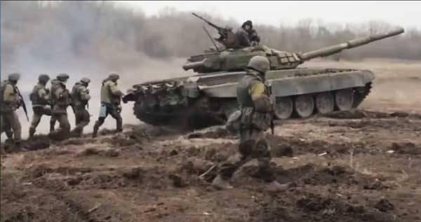 Тактические учения по отработке взаимодействия пехоты с танками