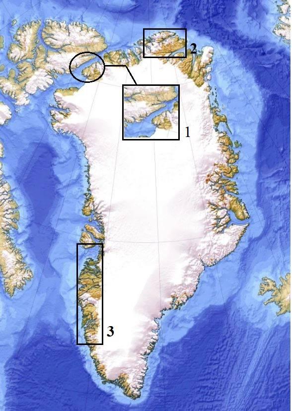 Карта Гренландии (современная проекция).1 – Пролив Нэрса, через который первые поселенцы перебрались на остров; 2 – Культура «Индепенденс I»; 3 – Культура «саккак»