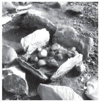 Так называемый ящичный очаг, использовавшийся культурой «индепенденс I».Обнаружен преимущественно в местах зимних стоянок. Примерный размер 40 х 40 см.Источник: Первоначальное заселение Арктики в условиях меняющейся природной среды