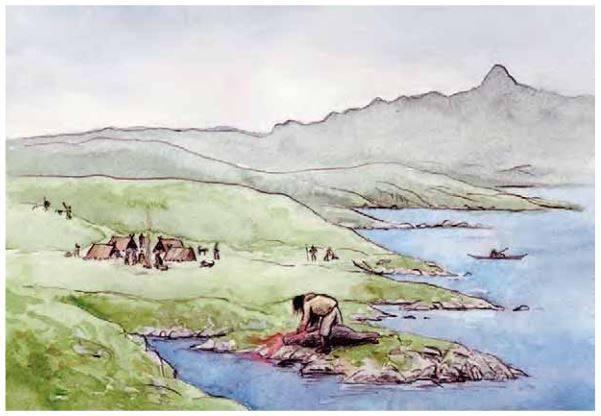 Базовый лагерь палеоэскимосов западной Гренландии на 4-8 семей. Художник: JørgenMürhmann-Lund