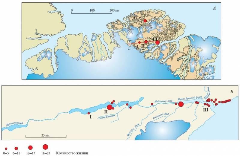 Участок карты северной Гренландии с обозначением возможных путей миграции первопроходцев культуры «Индепенденс I»I – стоянка Адама С. Кнута; II – Пирилэндвиль; III – Ванфальснэс.Поселения показаны кружками различного размера (в соответствии с найденным количеством жилищ)